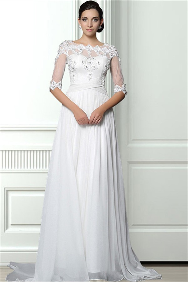 A Line Beaded Wedding Dresses