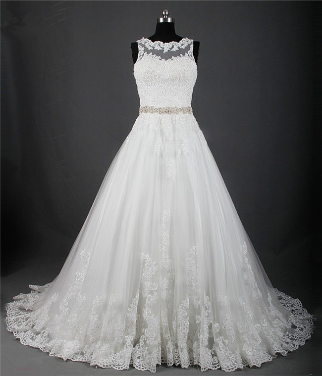 A Line Scalloped Neck Sheer Back Tulle Lace Wedding Dress With