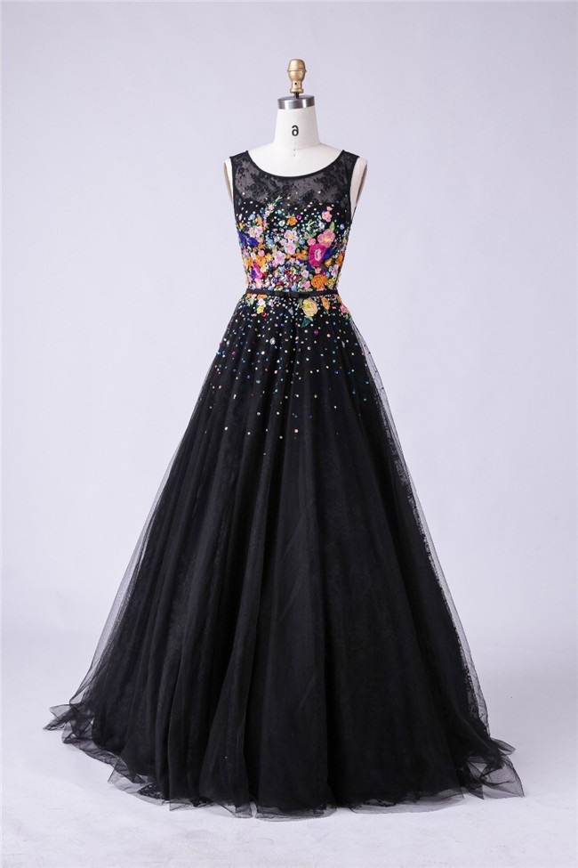 A Line Scoop Neck Black Lace Tulle Floral Applique Prom Dress With