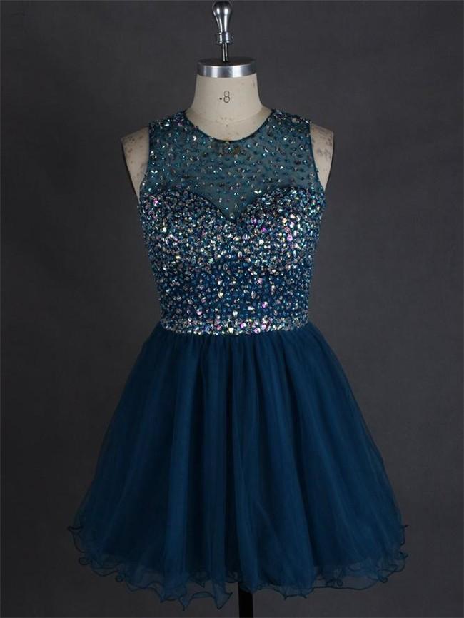 A Line Scoop Neck Open Back Dark Teal Tulle Beaded Short Prom Dress