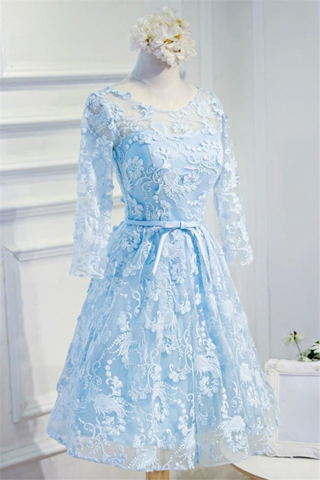 A Line Scoop Neck Open Back Light Blue Lace Prom ...