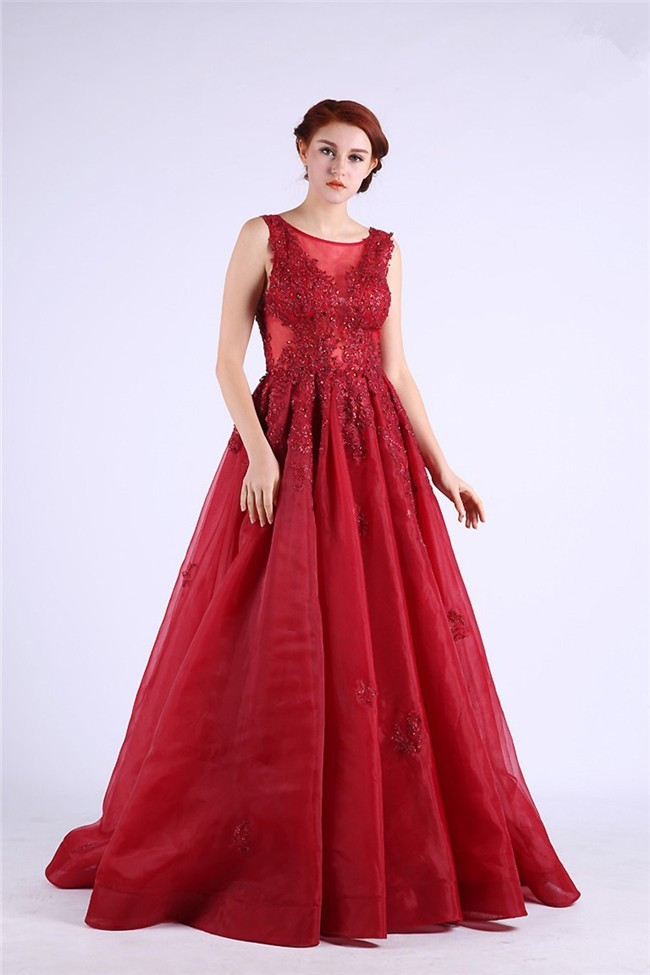 829fd8ad3e3 A Line Scoop Neck Sheer Back Long Red Organza Lace Beaded Prom Dress