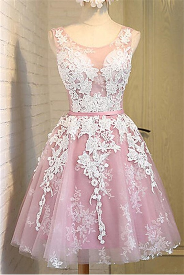 A Line Scoop Neck Short Pink Satin Ivory Lace Prom Dress