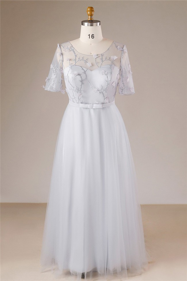 A Line Scoop Neck Silver Tulle Lace Petal Plus Size Prom Dress With