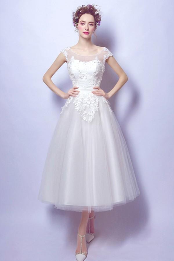 A line scoop neck tea length tulle lace outdoor wedding dress junglespirit Images