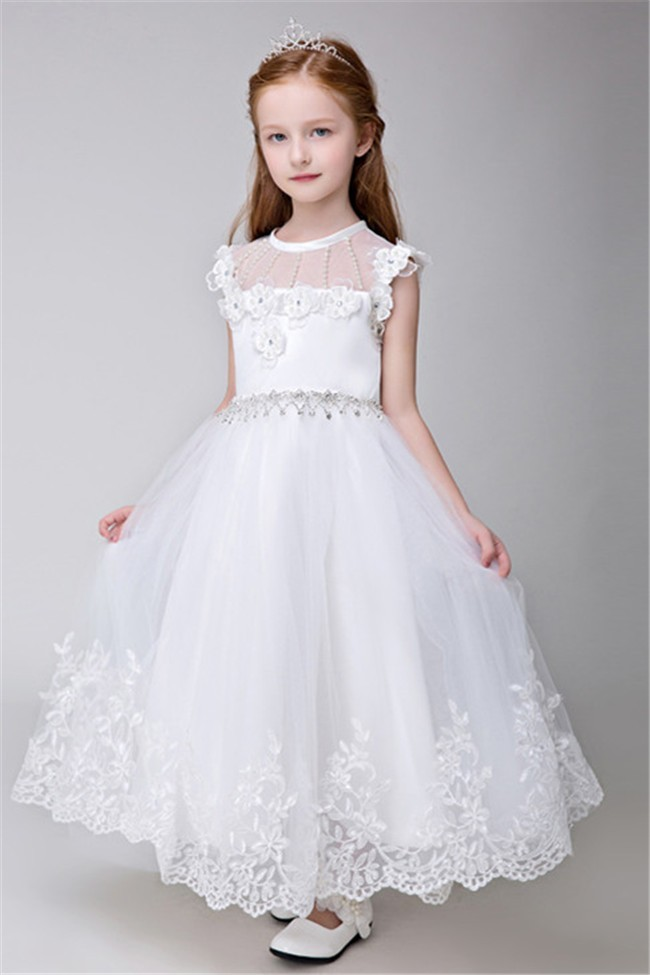 9bd4c30c31 A Line Scoop Neck Tulle Lace Pearl Beaded Flower Girl Dress