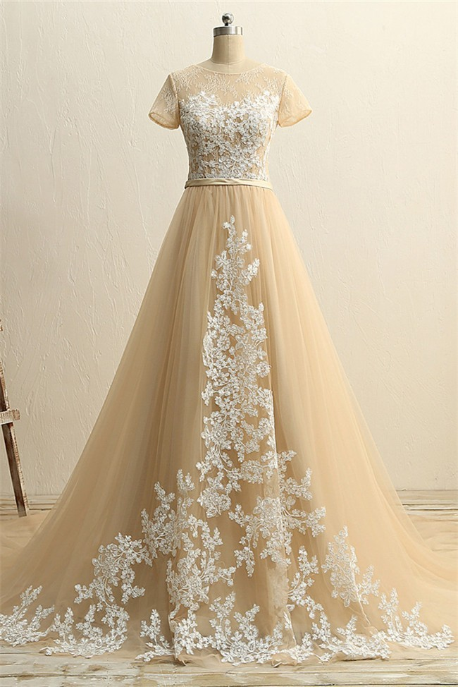 A line short sleeve champagne tulle ivory applique wedding for Ivory champagne wedding dress