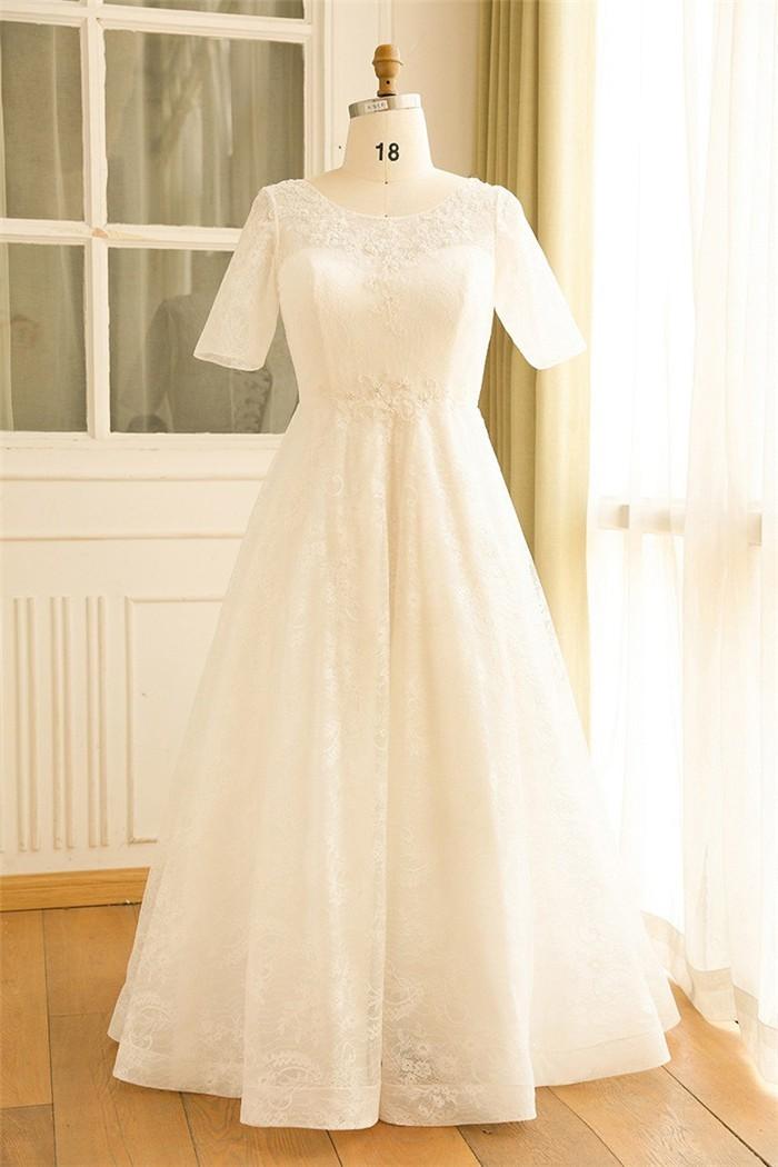 A line short sleeve corset back lace plus size wedding for Lace sleeve corset wedding dress