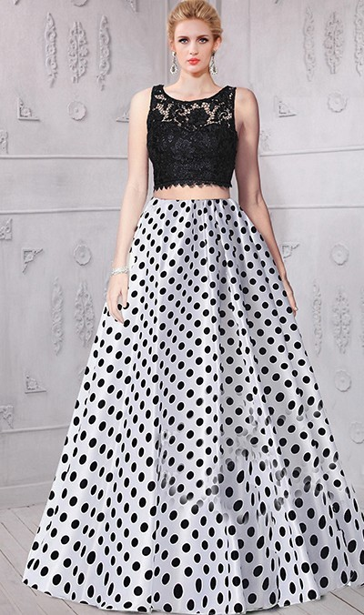 3cc34ee3b7e A Line Sleeveless Black And White Lace Polka Dot Two Piece Prom Dress