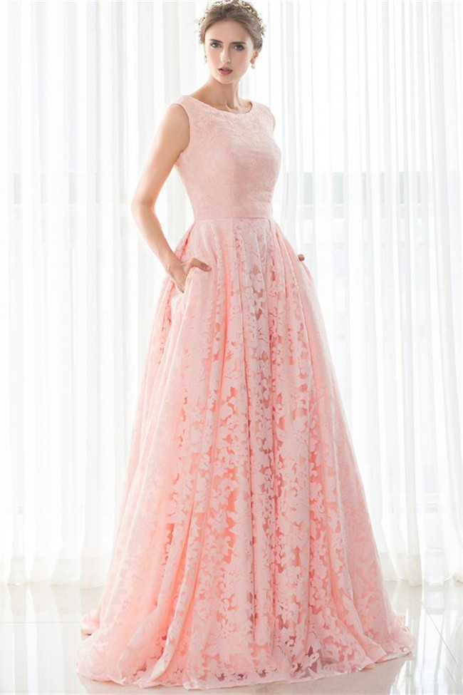a line sleeveless corset back long pearl pink lace prom dress with