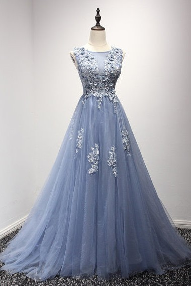 3b859b440bc074 A Line Sleeveless Long Dusty Blue Tulle Lace Applique Prom Dress