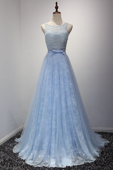 A Line Sleeveless Open Back Long Light Blue Lace Beaded Prom Dress