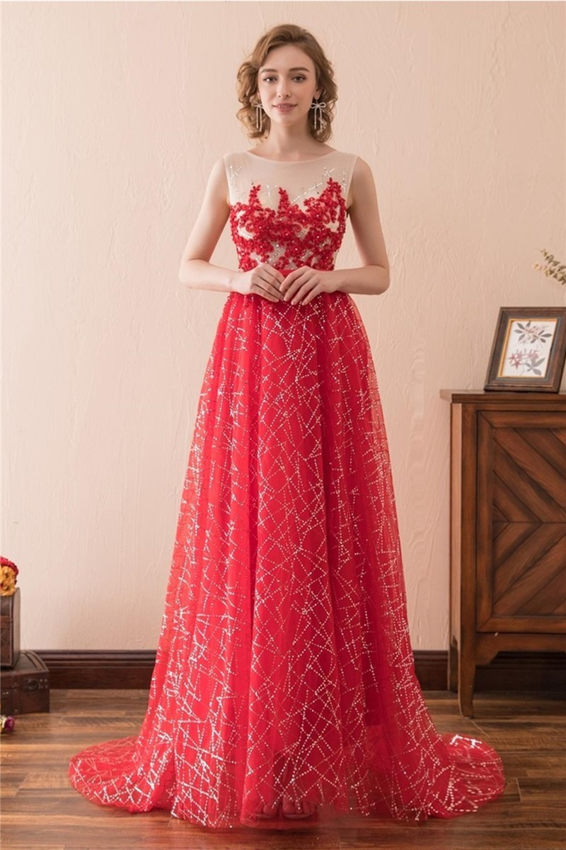 A Line Sleeveless Red Tulle Embroidery Sequin Shining Prom Dress