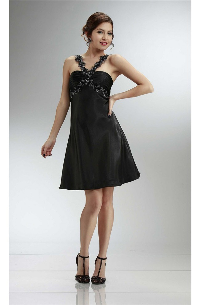 A Line Strap Short Black Silk Party Prom Dress