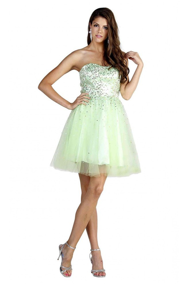 a line strapless short light green tulle sequined prom dress