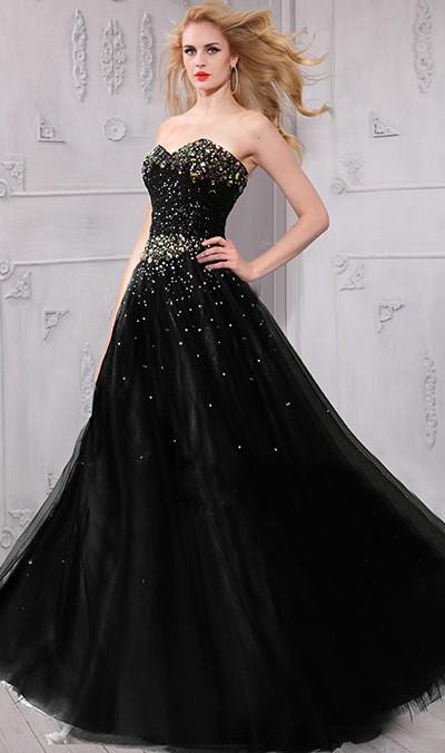 a4da8ee26f4 A Line Strapless Sweetheart Black Tulle Rhinestone Beaded Prom Dress Corset  Back