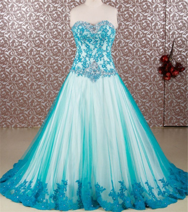 3c61205593b A Line Strapless Teal Tulle Lace Beaded Prom Dress Corset Back
