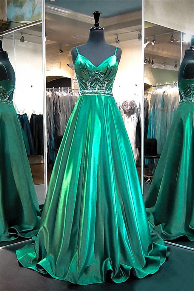 f52f1e51c43 A Line Sweetheart Cut Out Back Emerald Green Satin Beaded Prom Dress With  Straps
