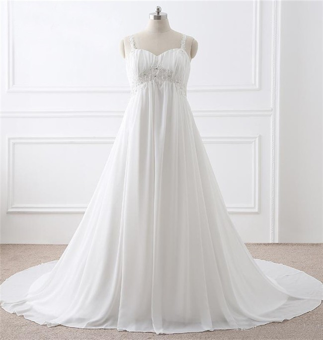 A Line Sweetheart Empire Waist Chiffon Plus Size Wedding Dress With ...