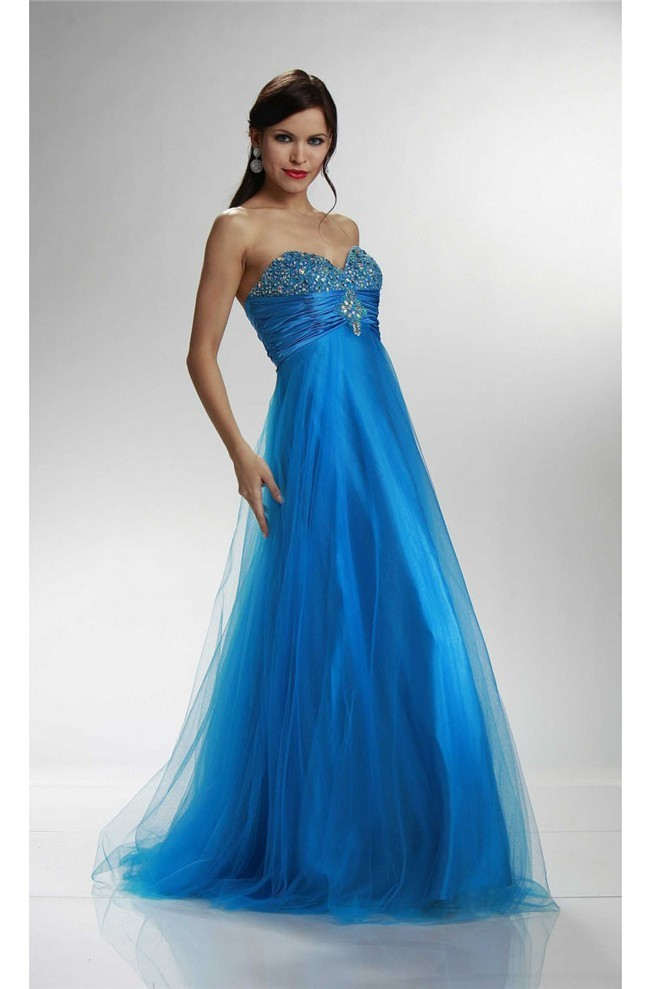 A Line Sweetheart Empire Waist Long Ocean Blue Tulle Beaded Prom Dress