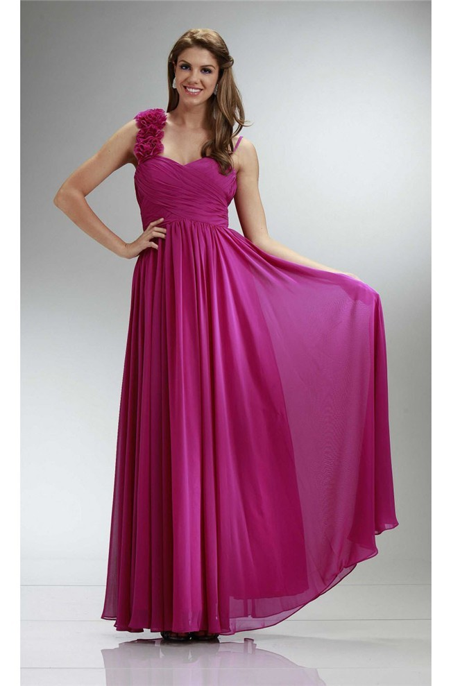 A Line Sweetheart Flower Strap Long Fuchsia Chiffon Ruched Bridesmaid Dress