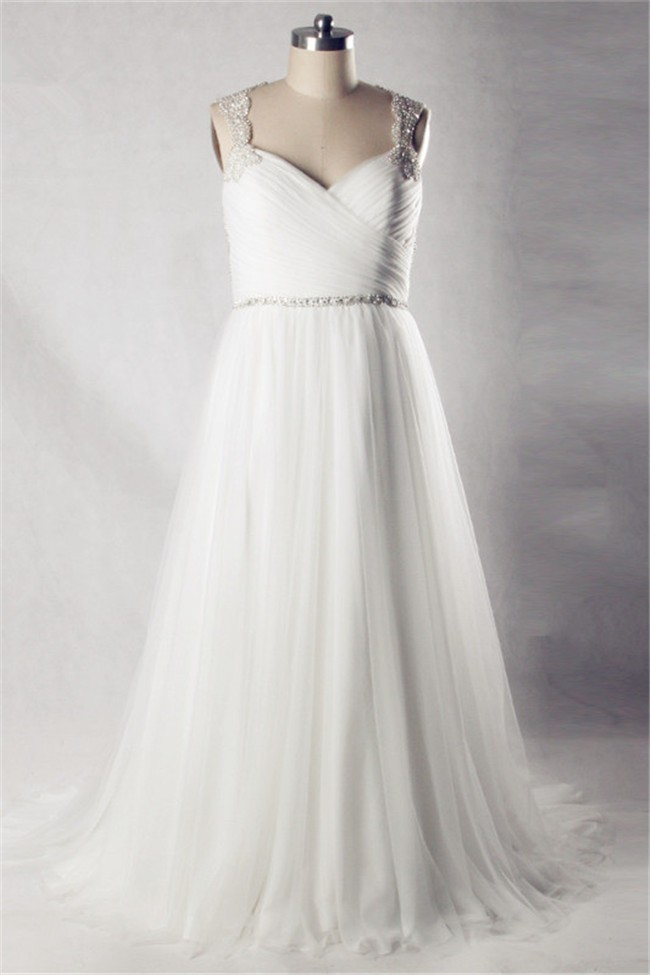 A line sweetheart open back tulle beaded plus size wedding for Free plus size wedding dress catalogs
