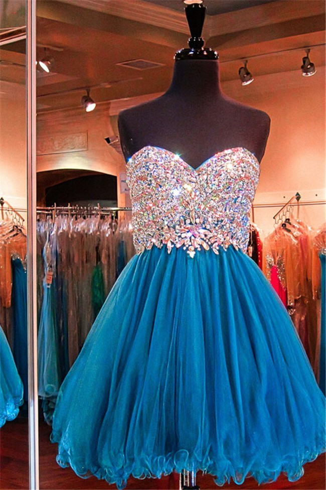 93ff9cdbc8c A Line Sweetheart Short Teal Tulle Beaded Prom Dress Corset Back