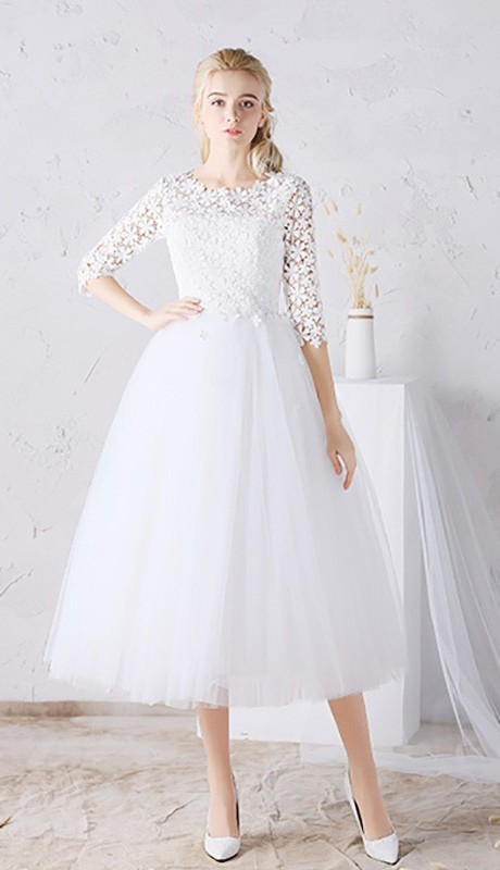 A line tea length tulle floral lace sleeve outdoor garden wedding dress junglespirit Choice Image