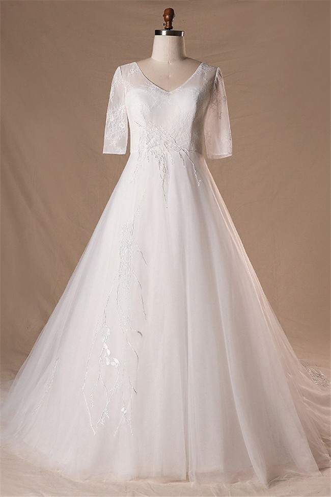 A Line V Neck 3 4 Sleeve Tulle Lace Plus Size Wedding Dress Lace Up Back