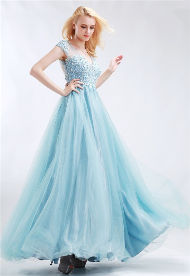 8ded0ad1c3049 A Line V Neck Cap Sleeve Illusion Back Light Blue Tulle Beaded Prom Dress