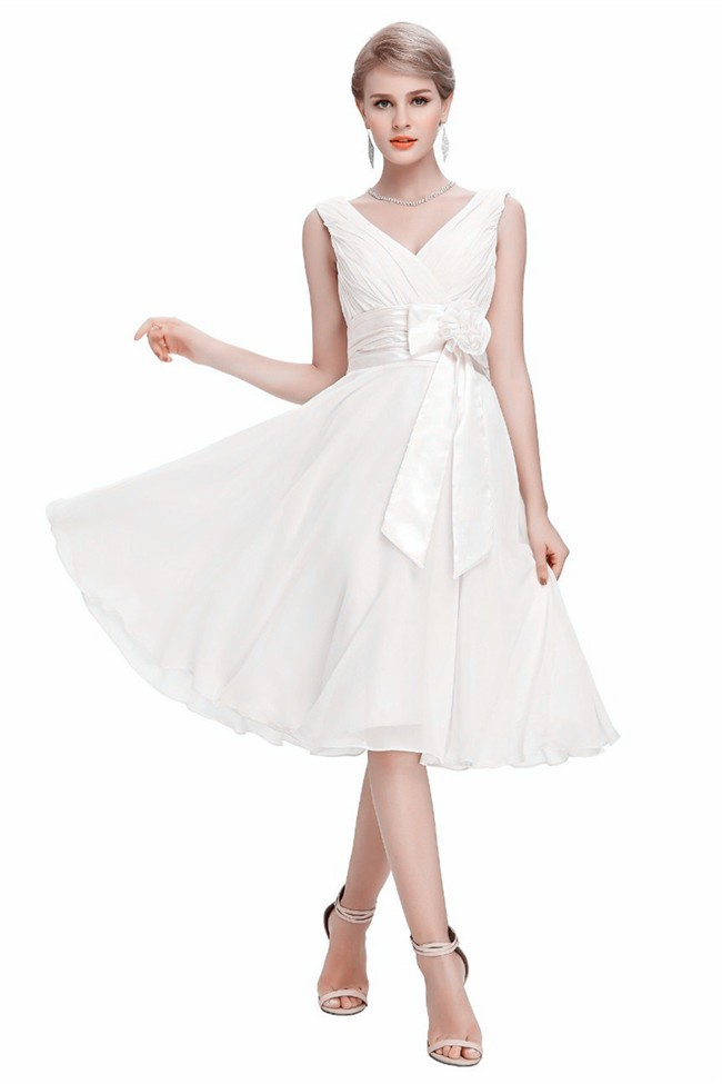 A Line V Neck Corset Short White Chiffon Bridesmaid Dress With Bow Flower
