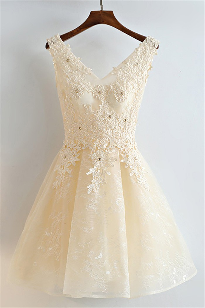 bd6b3d3e843 A Line V Neck Light Champagne Tulle Lace Beaded Short Party Prom Dress
