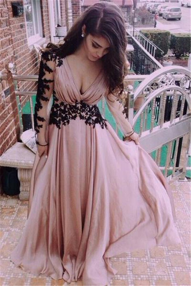 A Line V Neck Long Dusty Rose Chiffon Prom Dress Black Lace Sleeves