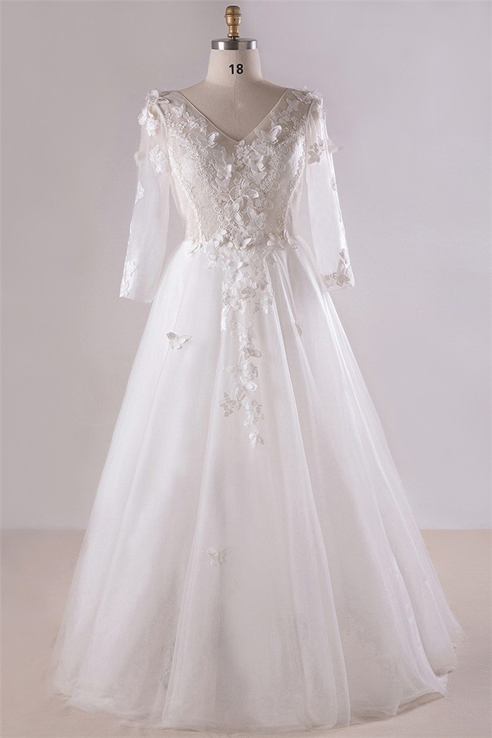 5b9486cbacccd A Line V Neck Long Sleeve Corset Back Tulle Lace Plus Size Wedding Dress No  Train