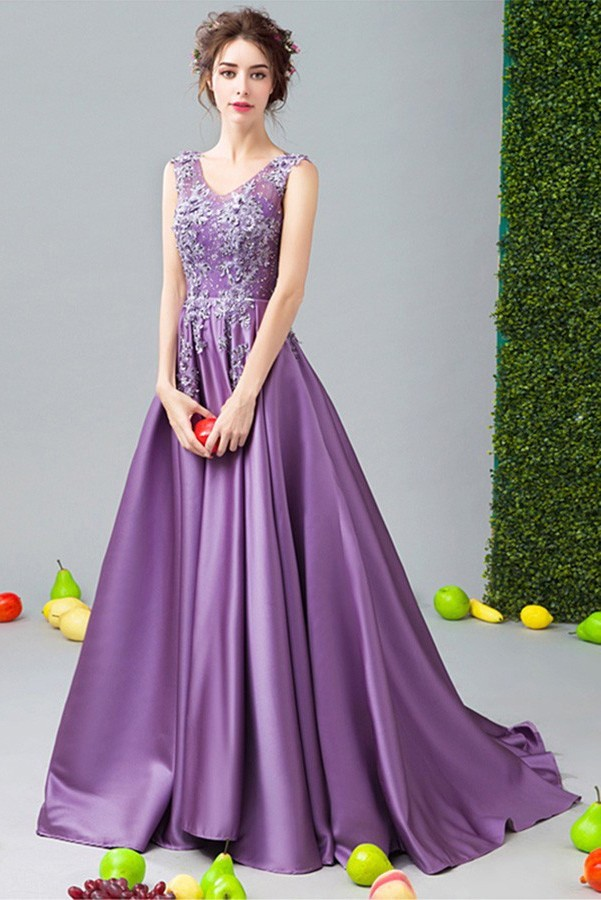 A Purple Satin A-Line Dress