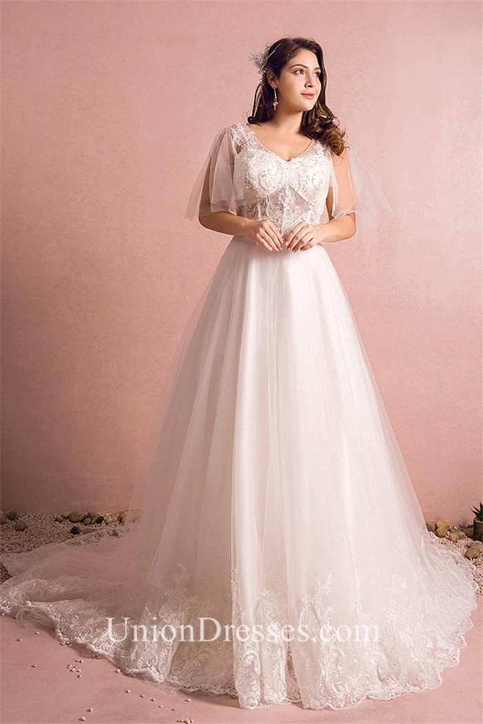 A Line V Neck See Through Tulle Lace Plus Size Wedding Dress With