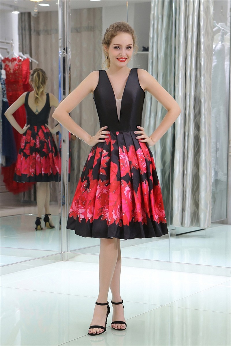 d20a5d14a05 A Line V Neck Short Black Satin Red Floral Printed Prom Dress