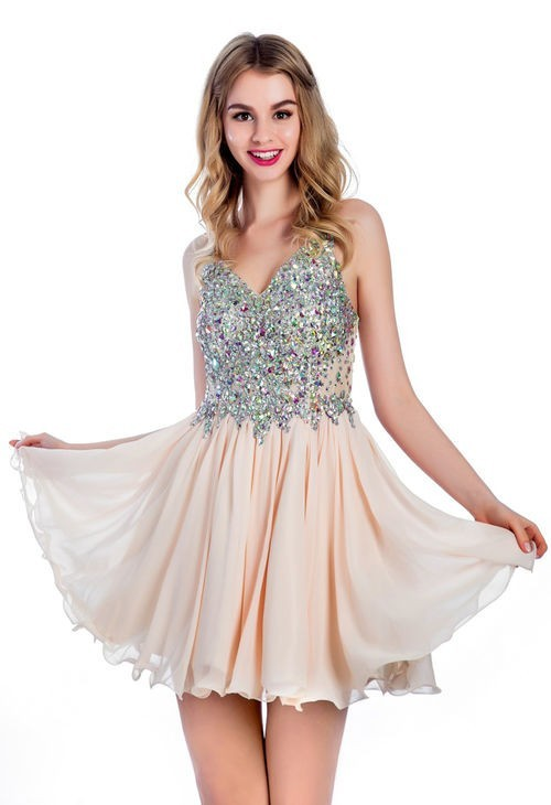 731508b55d A Line V Neck Short Nude Chiffon Beaded Cocktail Prom Dress
