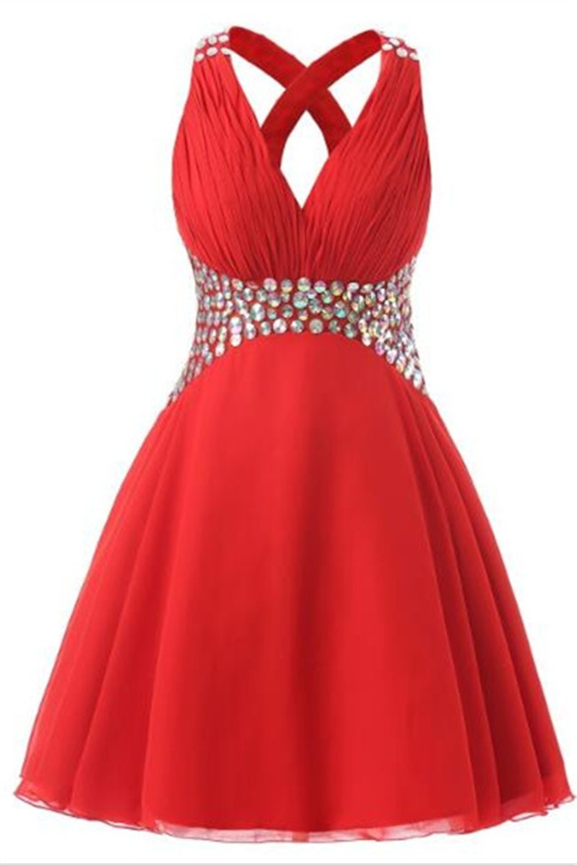 34fdcccfec A Line V Neck Short Red Chiffon Rhinestone Prom Dress Cross Straps