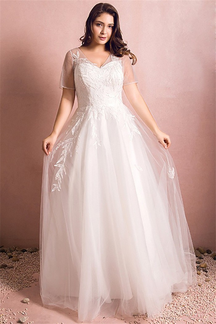 A Line V Neck Short Sleeve Corset Tulle Lace Plus Size Wedding Dress ...