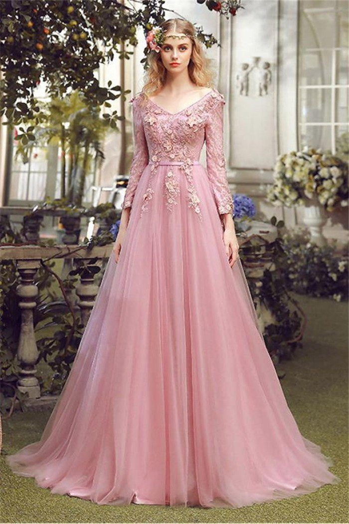 a1d1c7a22b A Line V Neck Vintage Pink Tulle Lace Prom Dress With Sleeves