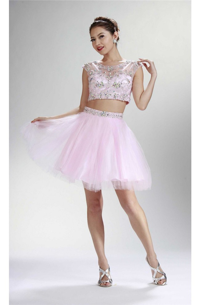 Ball Cap Sleeve Two Piece Short Light Pink Tulle Beaded Prom Dress