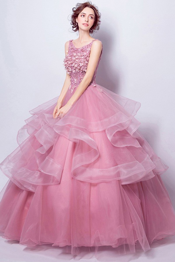 54f13928f950 Ball Gown Boat Neck Dusty Rose Tulle Ruffle Flower Wedding Dress Corset Back