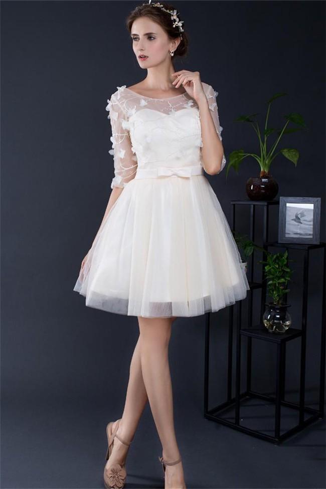 Ball Gown Boat Neck Short Light Champagne Tulle Flower Prom Dress ...