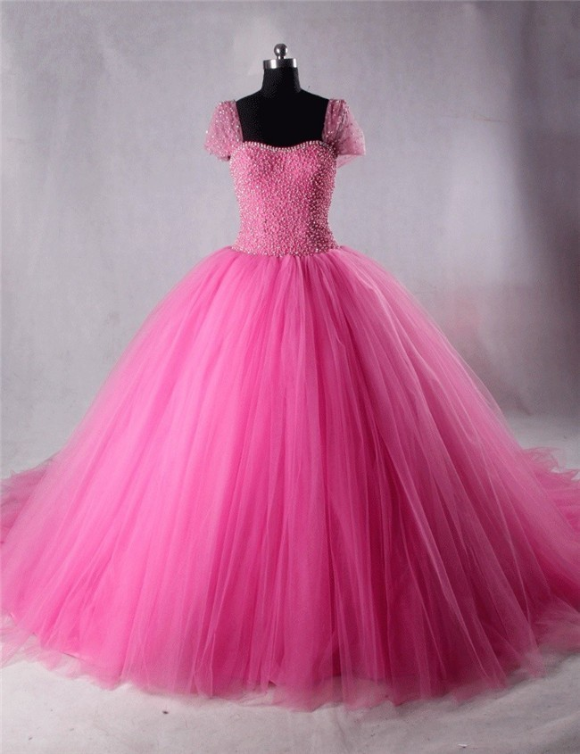 Ball Gown Cap Sleeve Hot Pink Tulle Beaded Puffy Prom Dress ...