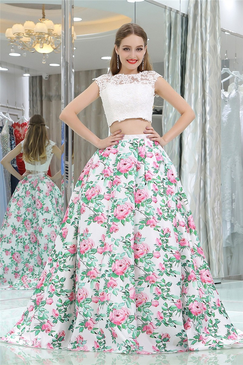 Ball Gown Cap Sleeve Open Back Two Piece Floral Printed Prom Dress