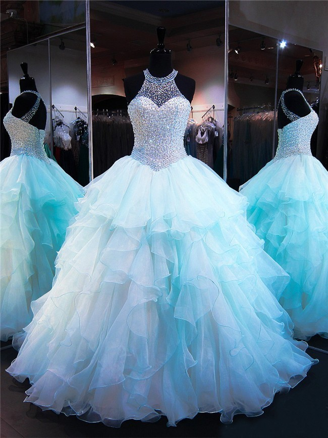 Ball Gown Halter Light Aqua Organza Ruffle Beaded