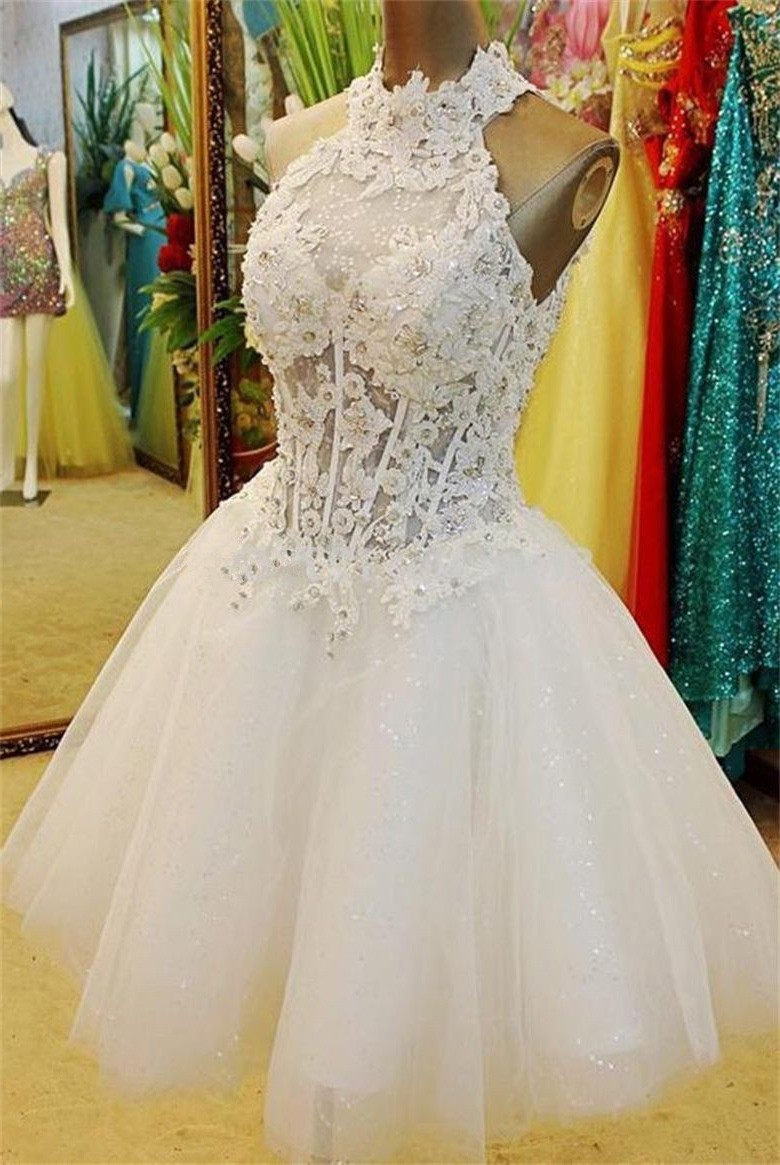 Ball Gown High Neck Open Back Short White Tulle Lace Beaded Tutu Prom Dress