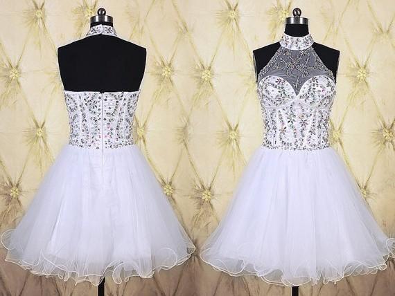 White Tulle Prom Dresses