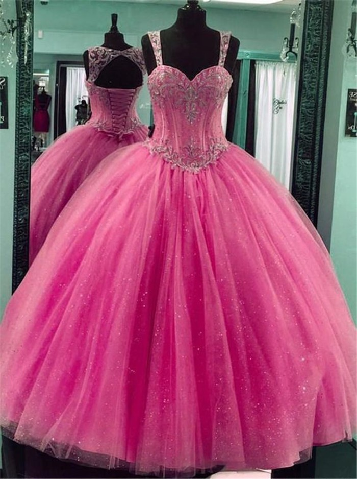 Ball Gown Hot Pink Tulle Beaded Puffy Prom Dress With Straps
